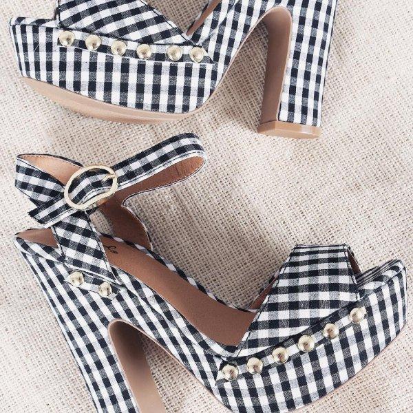 footwear, shoe, high heeled footwear, sandal, plaid,