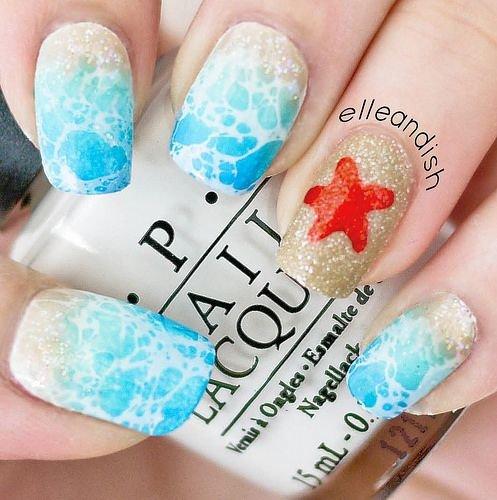Blue Nail Polish One Finger: 40 Awesome Beach Themed Nail Art