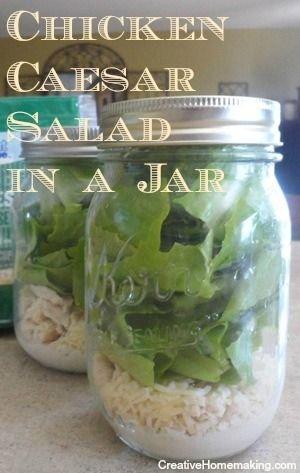 Homemade Chicken Caesar Salad in a Jar