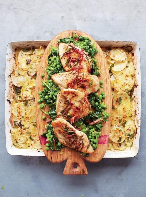 Golden Chicken, Braised Greens & Potato Gratin
