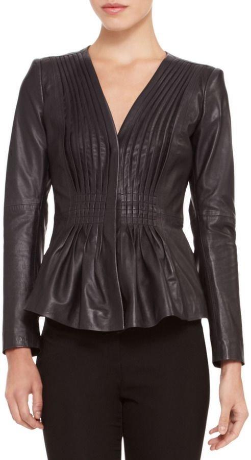 Armani Collezioni Ruched Flare-Hem Leather Jacket
