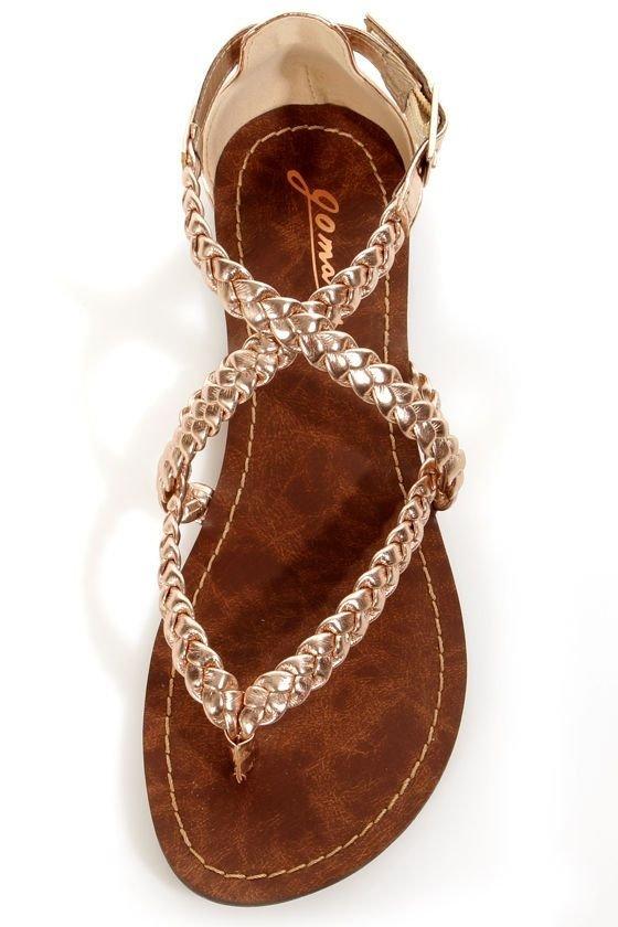 Gold Braided Gladiator Sandals