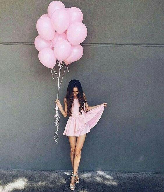 pink, girl, balloon, fun,