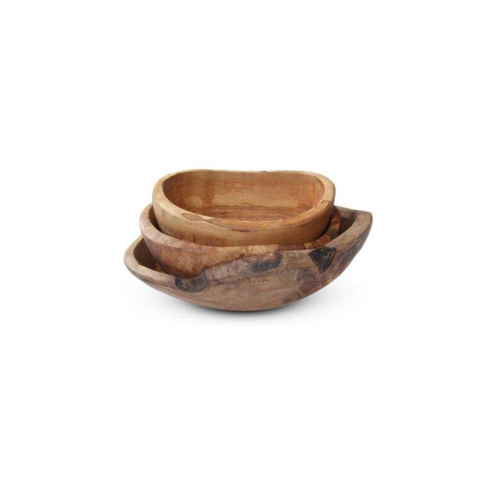 Olive Wood Rustic Bowls, Set of 3