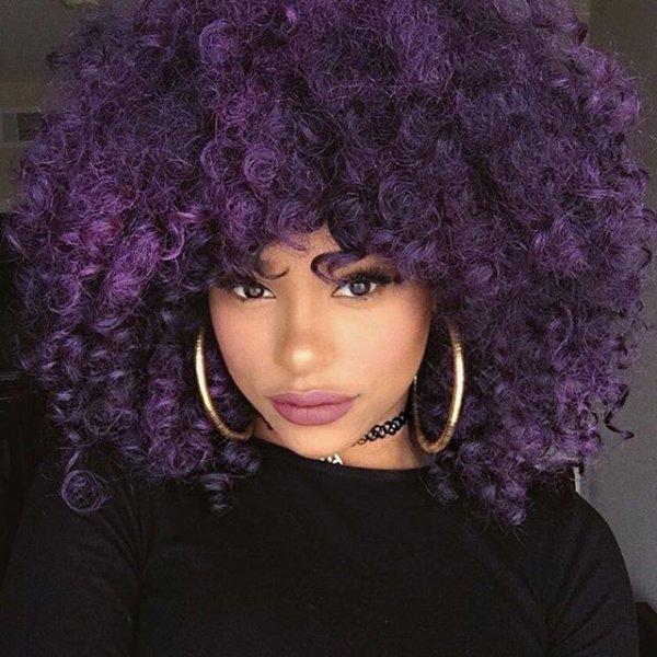 hair, purple, clothing, face, jheri curl,