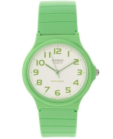 Casio round Dial Green Strap Watch
