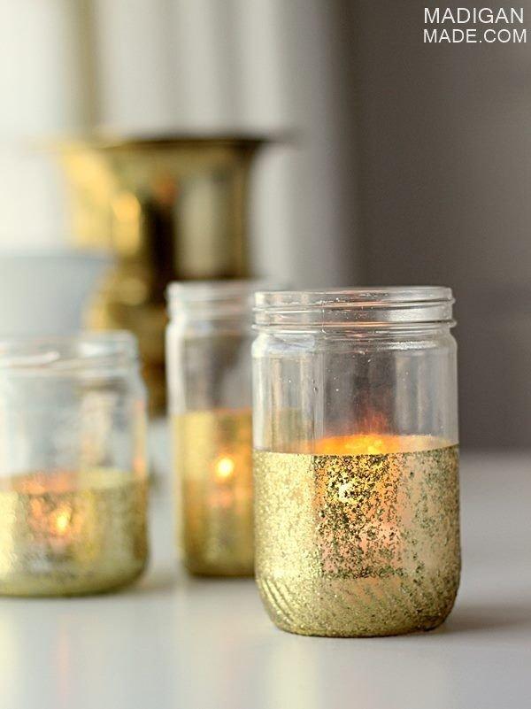 Glitter and Gold Dipped Mason Jar Candles