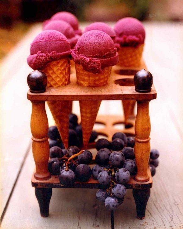 Grape Sorbet Cones