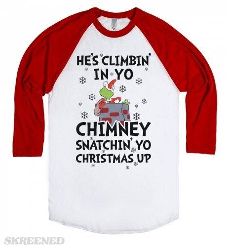 He's Climbin' in Yo Chimney-Unisex White/Red T-Shirt