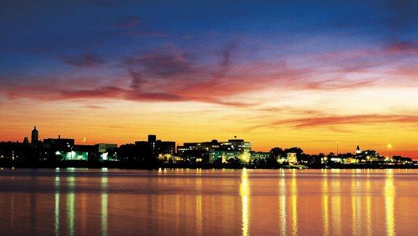 sky, reflection, afterglow, cityscape, skyline,