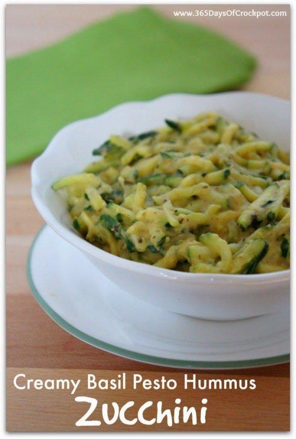 Creamy Basil Pesto Hummus Zucchini