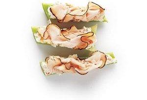 Sliced Turkey and Cream Cheese on Celery Sticks
