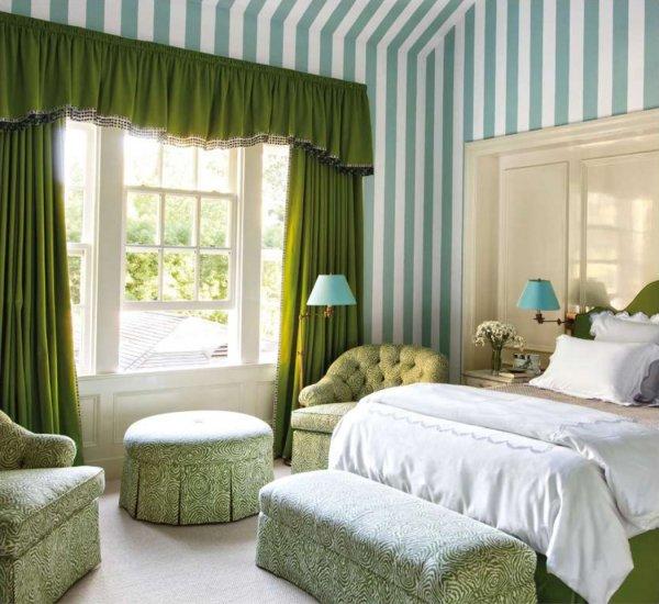 Bedroom, Furniture, Room, Green, Curtain,