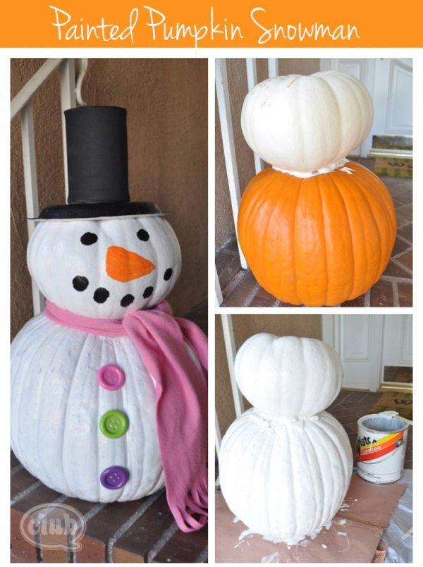 Painted Pumpkin Snowman