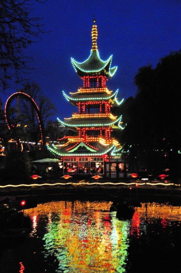Tivoli Gardens,landmark,night,tower,christmas decoration,