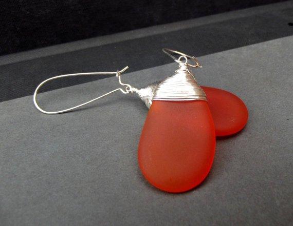Orange Sea Glass Earrings