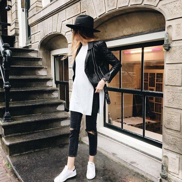 white, clothing, black, lady, road,