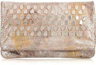 Diane Von Furstenberg Philomena Studded Snake-Print Leather Clutch
