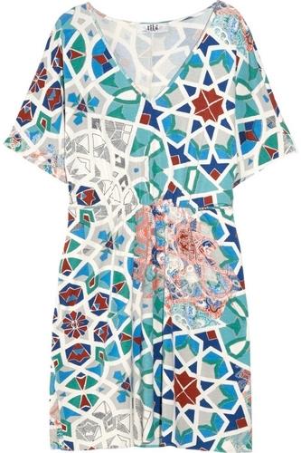 Tibi Mosaic-Print Stretch-Jersey Kaftan Dress