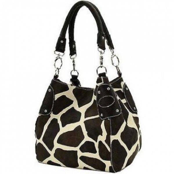 Giraffe Print Faux Leather Tote