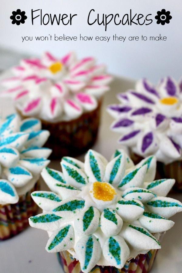 SUPER EASY Flower Cupcakes