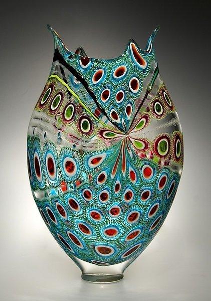 """Lime, Ruby & Aqua Foglio"" Art Glass Vessel"