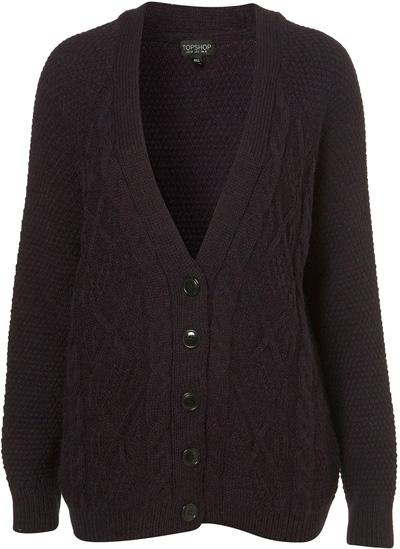 Topshop Knitted Dark Purple Tweedy Boyfriend Cardigan