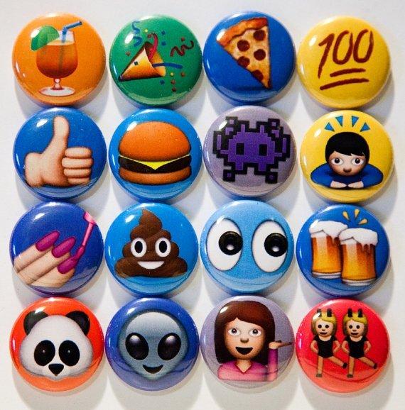 "Set of 16, 1"" Pinback Emoji Buttons"