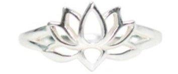 Open Design Lotus Blossom Flower Ring in Sterling Silver,