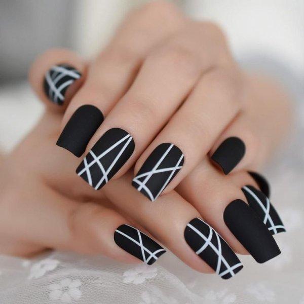 Nail, Nail polish, Manicure, Finger, Black,