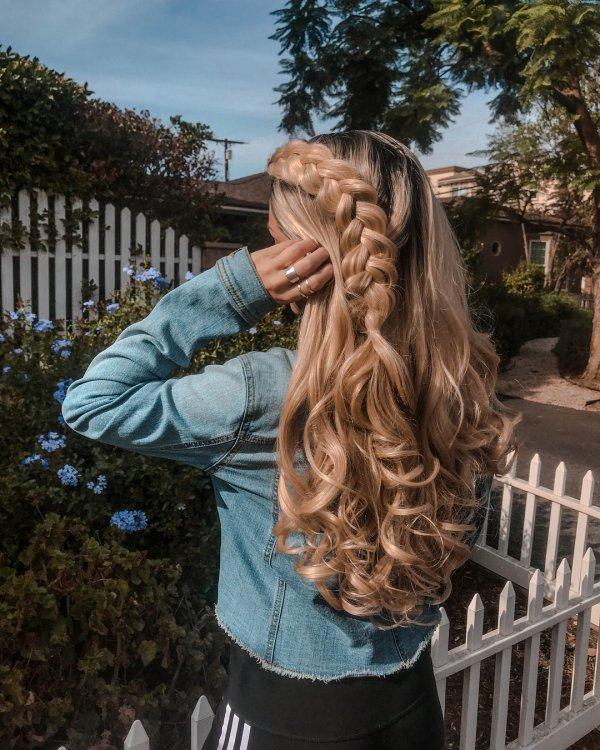 hair, hairstyle, long hair, hair coloring, tree,