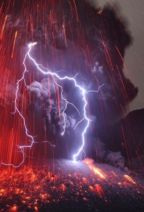 Lightning through a Volcanic Eruption