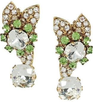 Bijou Heart Gather 24-Karat Gold-Plated Peridot Earrings