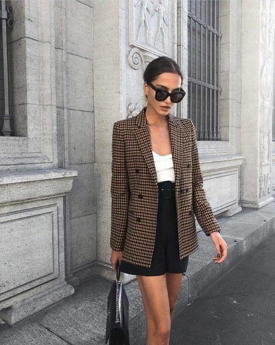 Clothing, Street fashion, White, Black, Blazer,