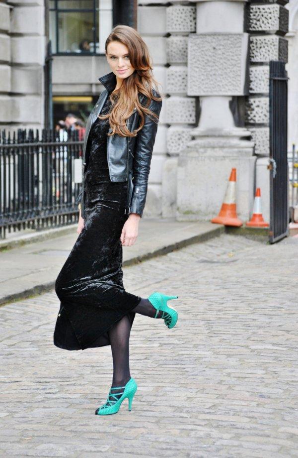 Velvet Maxi Dress with Leather Jacket