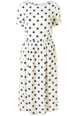 Topshop Cream Spot Midi Dress
