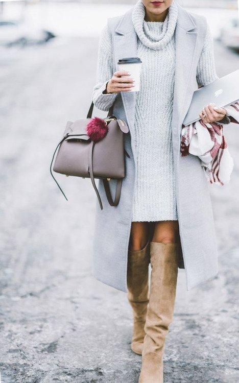 Grey Turtleneck Dress with Grey Jacket