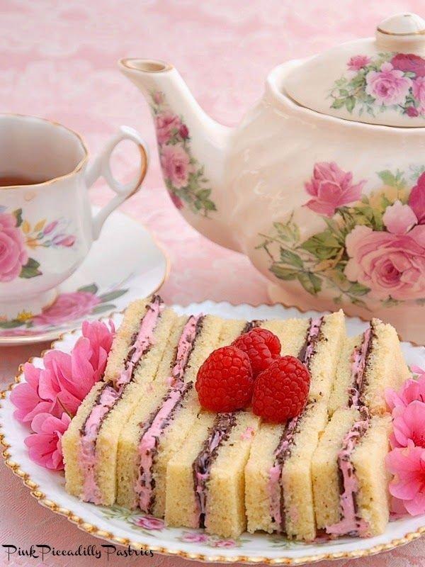 Chocolate Raspberry Pound Cake Tea Sandwiches