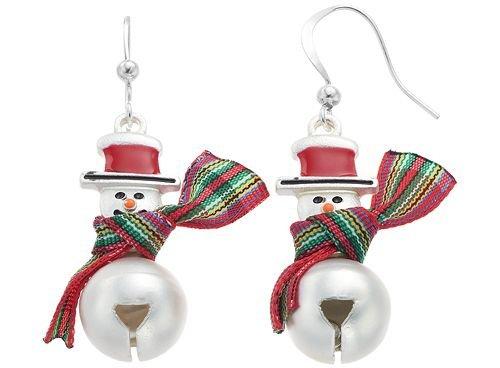 Snowman Jingle Bell Drop Earrings