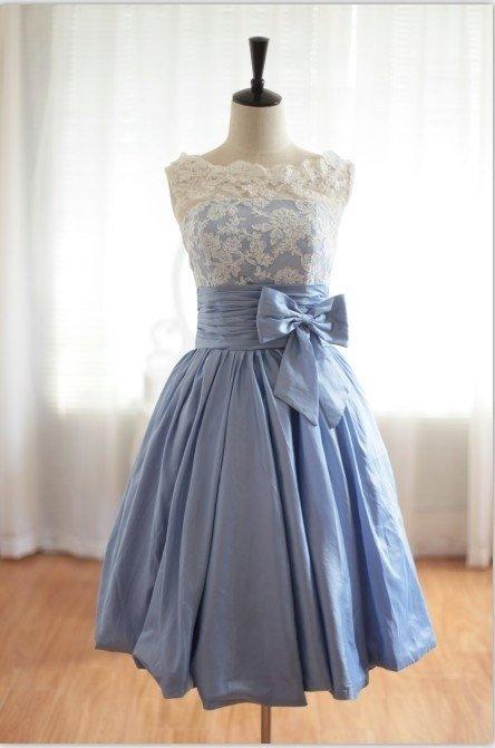Lace Blue Taffeta
