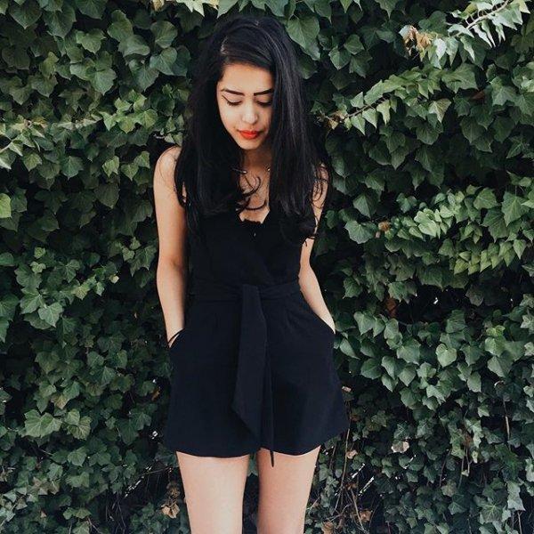 clothing, black, little black dress, dress, hairstyle,