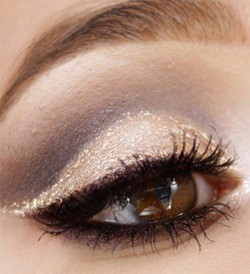 Gold Glitter, Black Mascara