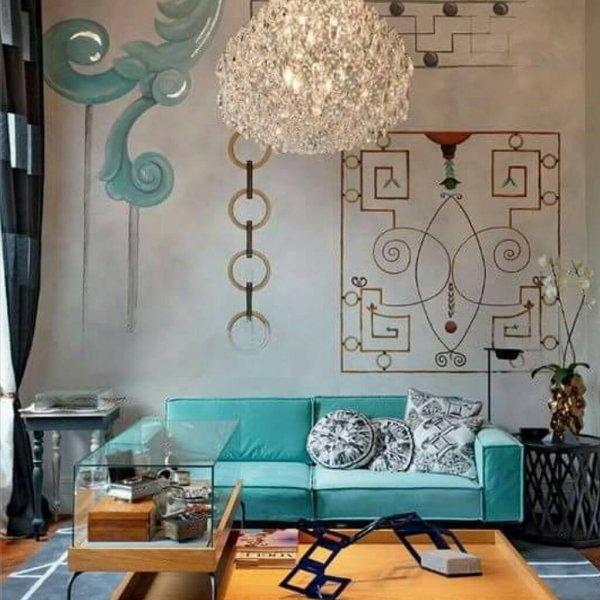 Living room, Room, Interior design, Turquoise, Furniture,