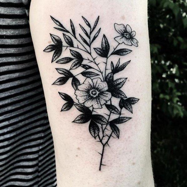 tattoo, flower, arm, pattern, leaf,