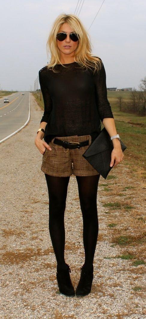 outfit kurze hose strumpfhose