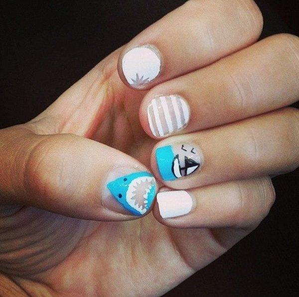 Shark Nail Art - 28 Super Cute Ideas for Summer Nail Art ... …