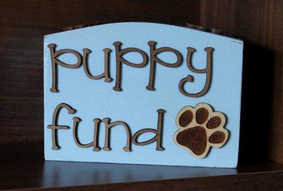 Wooden Puppy Fund Money Box