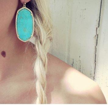 Danielle Gold Earrings in Turquoise