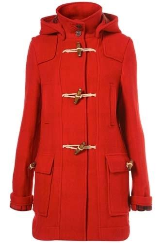 Topshop Red Bound Seam Duffel Coat
