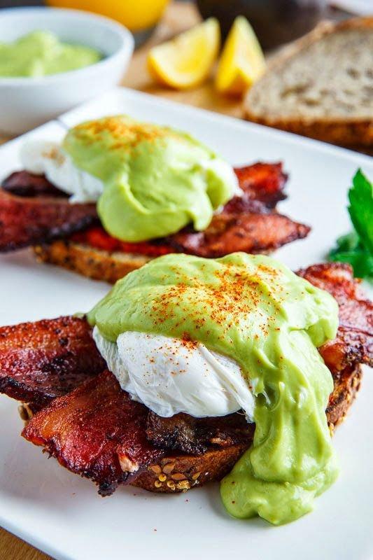 Eggs Benedict with Bacon, Avocado Hollandaise and Harissa